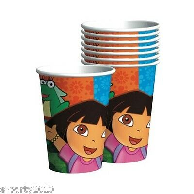 DORA THE EXPLORER Party 9oz PAPER CUPS (8) ~ Birthday Supplies Boots Tico Drink • 2.79£