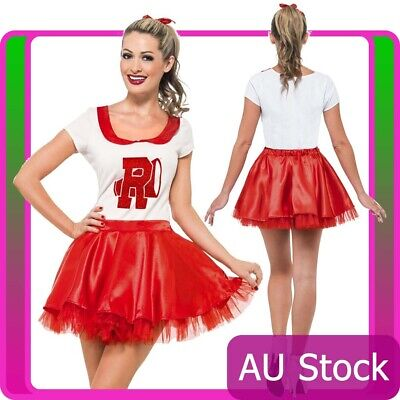 AU43.23 • Buy 50s Grease Sandy Costume Red Rydell High Licensed Cheerleader 1950s Fancy Dress