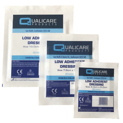 £2.97 • Buy Low Adherent Dressings - 10cm, 7.5cm, 5cm First Aid Cuts Burns & Wounds