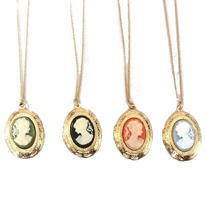 £5.99 • Buy Gold Plated Cameo Locket Pendant Necklace 16  Or 18  Chain For Child Or Adult