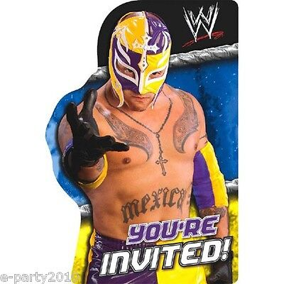 WWE WRESTLING INVITATIONS (8) ~ Birthday Party Supplies Stationery Invites Cards • 4.07£