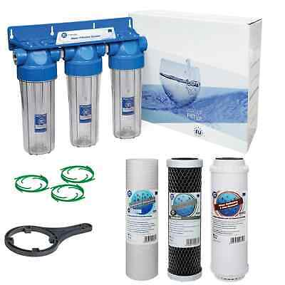 3 Stage Whole House Water Purifier And Softener Filter Kit Salt Free 1/2  BSP • 54£