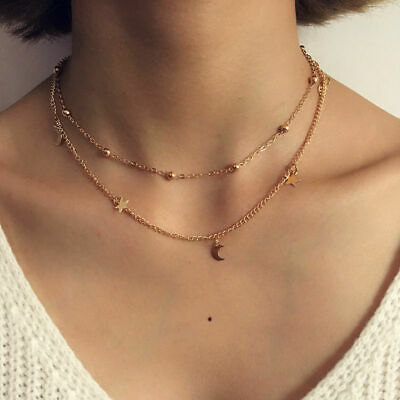 New Gold Silver Double Deck Star Moon Simple Necklace Earrings Womens Love Gifts • 2.59£