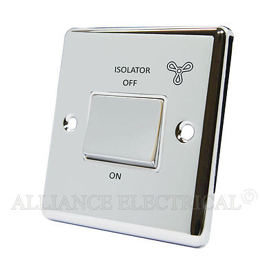 Polished Mirror Chrome Classical Fan Isolator Switch 10 Amp 3 Pole - CPC3PFANWC • 11.60£