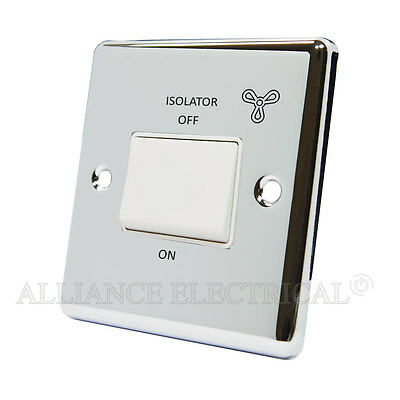 Polished Mirror Chrome Classical Fan Isolator Switch 10 Amp 3 Pole - CPC3PFANWH • 11.15£