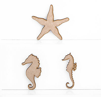 Wooden MDF Sea Horse Star Fish 3mm Thick Embellishments Decoration Craft • 1.25£