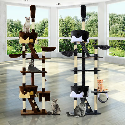 Large Cat Tree Scratching Post Condo Pet House Kitty Play Tunnel Toy 240 - 260H • 56.99£