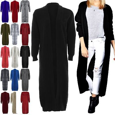 Women Ladies Longline Chunky Knitted Long Sleeve Midi Length Cardigan Jumper Top • 11.49£