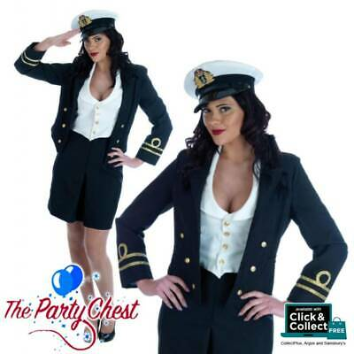 WWII 1940S NAVY LADY COSTUME Military Uniform With Hat Fancy Dress Outfit 2548 • 24.99£