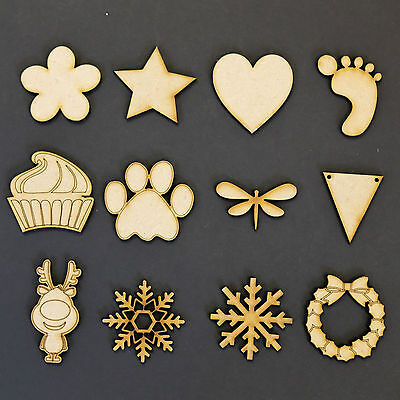 Wooden MDF Shapes Hearts Stars Butterfly Bunting Craft Embellishments Decoration • 1.29£