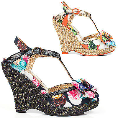AU114.97 • Buy Poetic Licence Behave Yourself Tropical Floral 1950s Retro Vintage Wedges Shoes