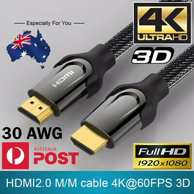 AU7.99 • Buy PREMIUM HDMI Cable 4K Ultra HD V2.0 1.4 3D High Speed Ethernet Gold Plated 1-10M
