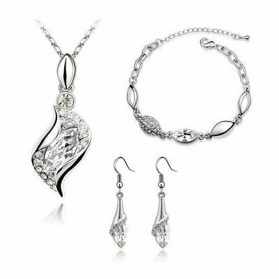 £4.99 • Buy Silver Crystal Jewellery Set Pendant Necklace Earrings And Bracelet Gift