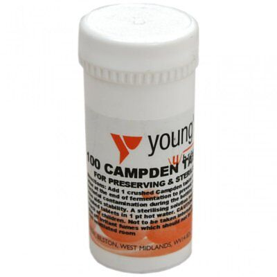 £7.45 • Buy Youngs Campden Tablets Wine Making Home Brew Preserve & Sterilise 100 Pack