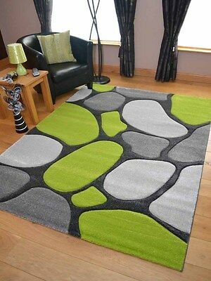 £39.99 • Buy Thick Quality Lt Silver Grey Green Stepping Stone Rugs Long Hall Runners Cheap