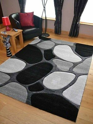 £23.99 • Buy Thick Soft Quality Lt Silver Grey Black Floor Mat Rugs Long Hall Runners Cheap
