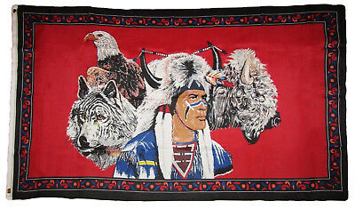 $7.27 • Buy 3x5 Indian Native American Eagle Wolf Bison Buffalo Polyester Flag 3'x5' Grommet