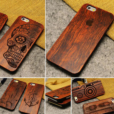 100% Natural Carved Wooden Phone Case Cover For Apple IPhone 11 XR X XS 8 7 6 5 • 9.99£