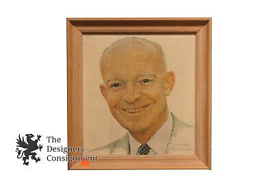 $ CDN64.08 • Buy Vintage Dwight D Eisenhower Oil On Canvas Framed By Norman Rockwell