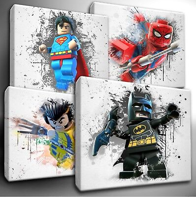 LEGO Marvel / DC Characters Paint Splatter CANVAS Wall Art Picture Prints • 14.99£