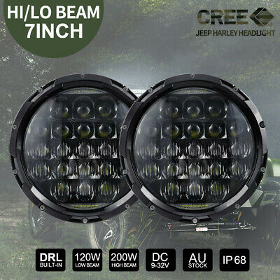 AU79.99 • Buy Pair 7 Inch 200W CREE Round LED Headlights Kit For Jeep Wrangler TJ JK 97-17