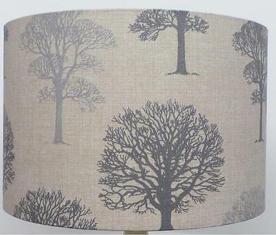 Grey And Silver  Linen Trees Design Lampshade, Ceiling Pendant, Table Lamp • 18.99£