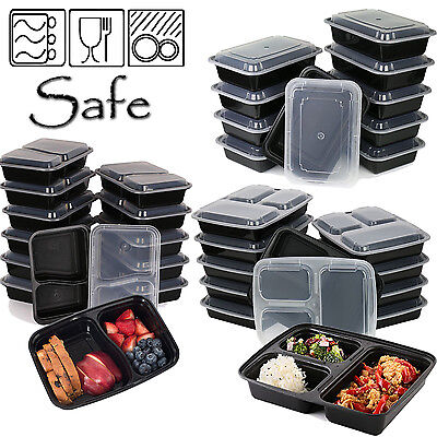 10 Meal Prep Food Containers 1,2,3 Compartment Bpa Free Plastic Lunch Box + Lids • 9.99£