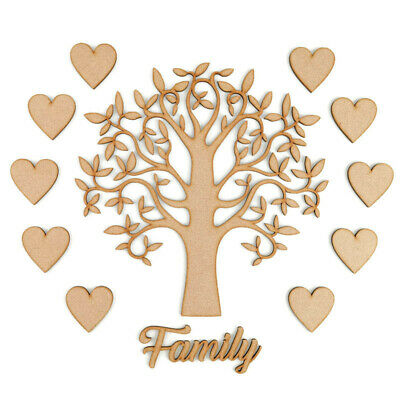 £3.10 • Buy Family Tree Set MDF Laser Cut Wooden Craft Blank Shapes Wedding Love Hearts Gift