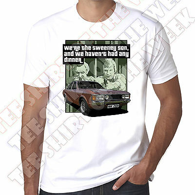 We're The Sweeney We Haven't Had Any Dinner Ford Consul Gt Cotton Mens Tshirt • 9.99£