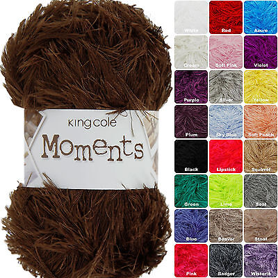 King Cole Moments DK 50g Eyelash Knitting Wool / Yarn. Complete Range In Stock • 1.98£