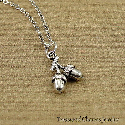 Silver Acorns On Branch Necklace - Autumn Fall Nature Nut Charm Pendant NEW • 13.95$