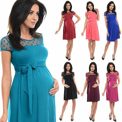 £12.98 • Buy Purpless Short Sleeved Maternity And Pregnancy Dress With Polka Dot Lace D004