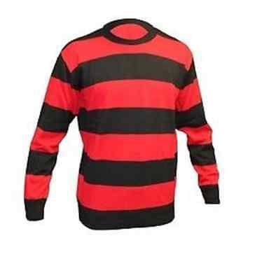 Red & Black Striped Sweater Fancy Dress Party Jumper World Book Week Sweatshirt • 13.49£