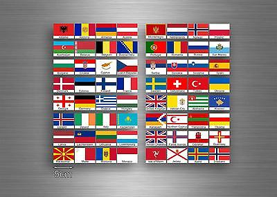£4 • Buy Set 64x Sticker European Europe Flag Scrapbooking Country Collection Stamp 5cm A