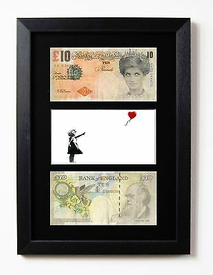 £19.95 • Buy Two Framed & Mounted Di Faced Tenners £10 Note Banksy Balloon Girl Presentation