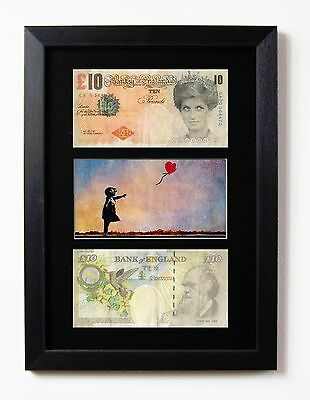 £19.95 • Buy Two Framed Mounted Di Faced Tenners £10 Note Banksy Balloon Girl Presentation