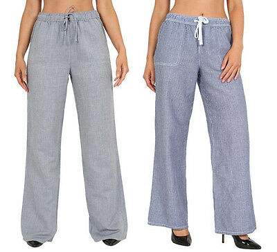 Womens Ex M&S Ladies Linen Pull On Casual Trousers Summer Holiday Summer Pants  • 6.99£