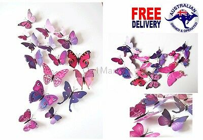 AU7.99 • Buy 12Pcs 3D Purple Butterfly Decals Wall Removable Sticker Kids Art Magnets Decor