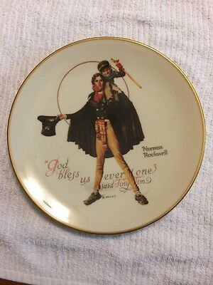 $ CDN9.43 • Buy Vintage Norman Rockwell Plate Tiny Tim 1974 Gorham Annual Collector's Edition