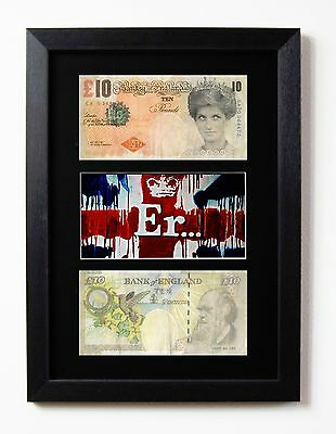 £19.95 • Buy 2 FRAMED & MOUNTED BANKSY DIFACED TENNERS 2x £10 NOTES & ER. UNION JACK PRINT