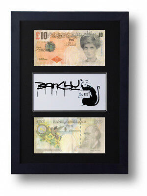 £19.95 • Buy 2 Framed Mounted Banksy Difaced £10 Note Tenners & You Lie Rat Print Ten Pound
