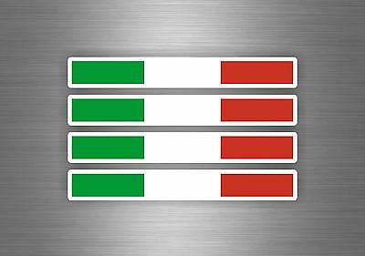 4 X Sticker Car Decal Motorcycle Flag Italy Italian Stripe Racing Tuning • 2.45£