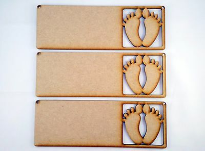 £3.50 • Buy 3x MDF WOODEN  BABY FEET SIGN Birth Announcement Wood Shape Plaque Hanger Blank