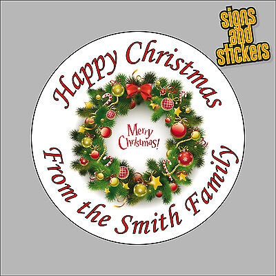 £2.50 • Buy 40 Personalised Christmas Stickers Gift Tags Xmas Parcels Presents Santa Wreath