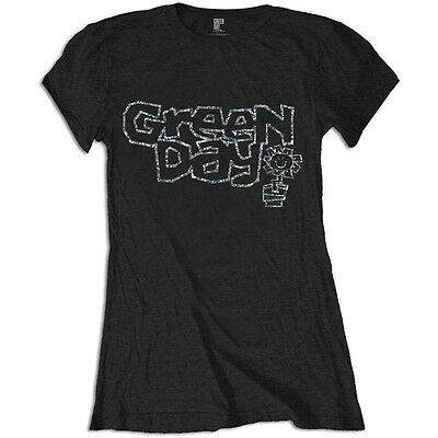 Green Day - Flowerpot Diamante - Official Women's Fitted Black T-Shirt • 18.95£