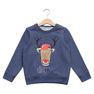 Boy's Christmas Jumper EX Marks & Spencer Rudolph Xmas Sweater Blue • 6.99£