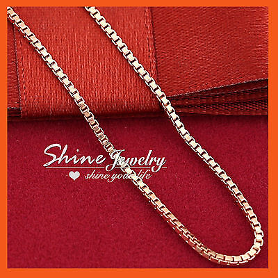 AU7.72 • Buy 9K PLAIN ROSE GOLD FILLED WOMENS GIRLS MENS BOX CHAIN SOLID NECKLACE For PENDANT