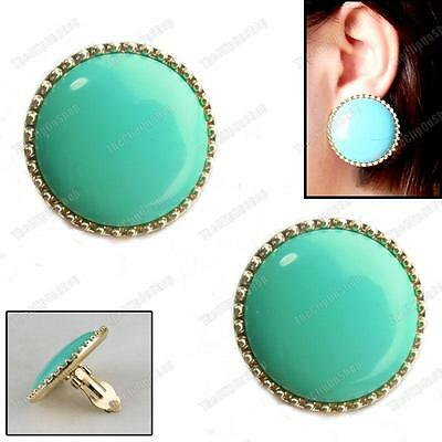 £3.44 • Buy CLIP ON BIG 3cm ROUND Retro EARRINGS Blue Green TURQUOISE Gold Plt Vintage Chic