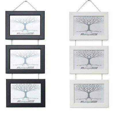 Triple Photo Picture Frame Wall Hanging With Metal Chrome Chain Black Or White • 12.95£