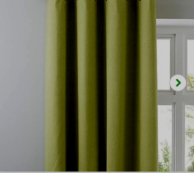 100% COTTON CANVAS CURTAINS In LEAF GREEN/ OLIVE/FORREST TAB TOPS  GREAT VALUE • 16.99£